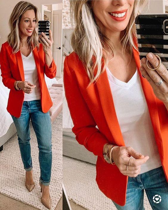 Los mejores looks con blanco y naranja para otoño