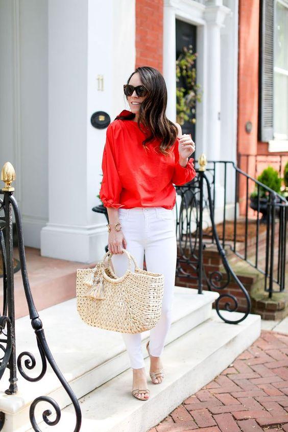 Ideas de looks con bolsos de paja bordados