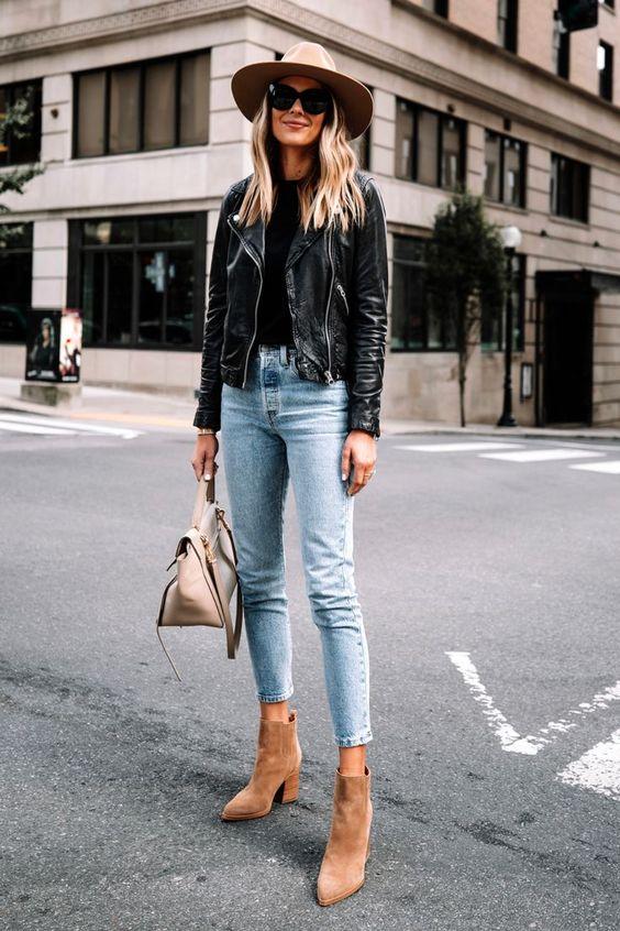 Outfits con jeans, chamarra de cuero y botas