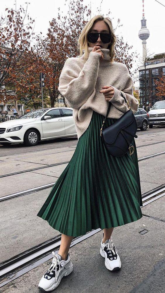 Outfits en tonos verde para invierno