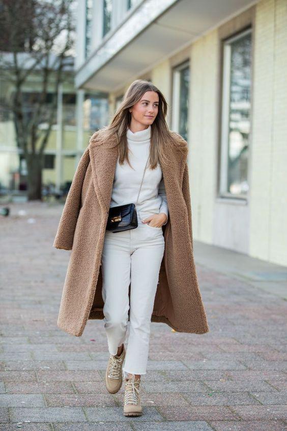 Outfits con abrigos de borreguita largos
