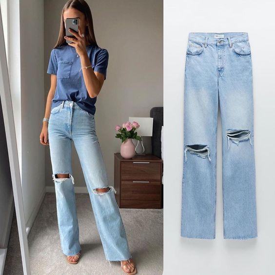 Jeans wide leg de Zara