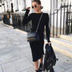 Looks con vestido negro y botas para otoño