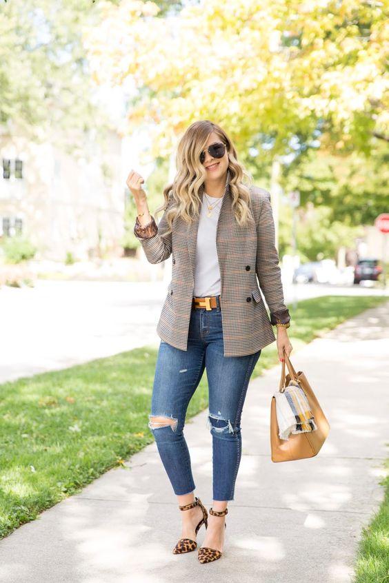 Blazers con jeans para otoño