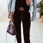 Cinto gucci con pantalones negros