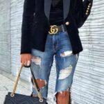 Cinto gucci con jeans de mezclilla